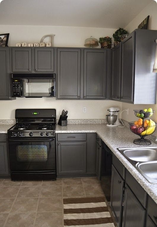 Kitchens with grey painted cabinets painting kitchen for Gray kitchen cabinets with black counter