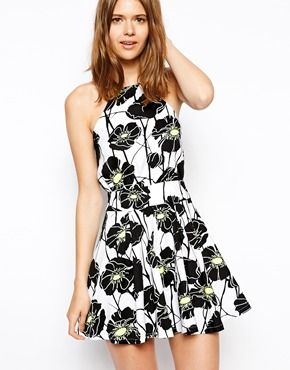 AX Paris Skater Dress with Cut Away Neckline