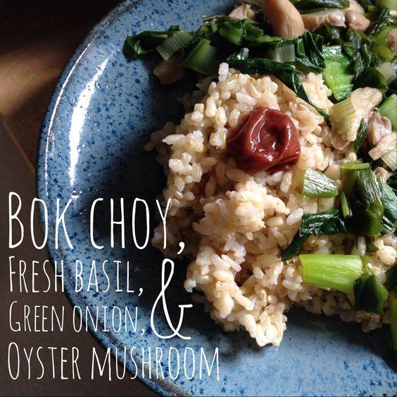 bok choy, basil, green onion, and mushroom stir fry