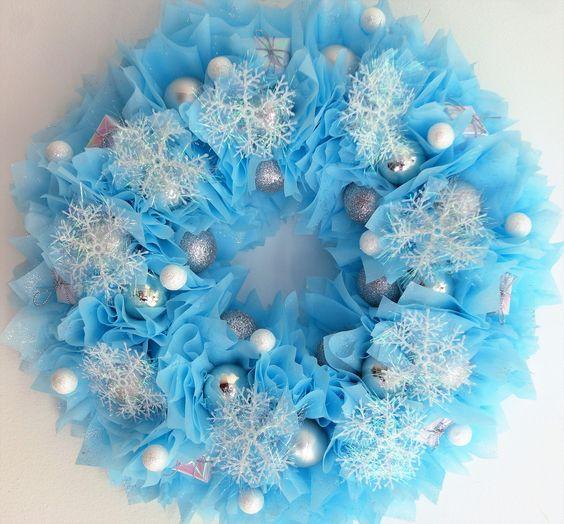Couronne reine des neiges pour porte d 39 entr e d coration for Decoration porte bienvenue