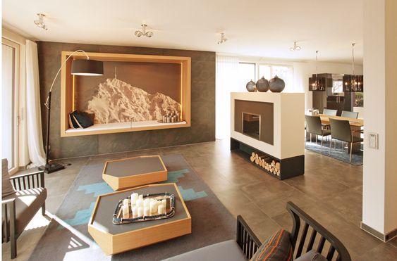 Beispiel mit großen Fliesen auch im Wohnzimmer + Sitzecke in der - wohnzimmer mit offener küche
