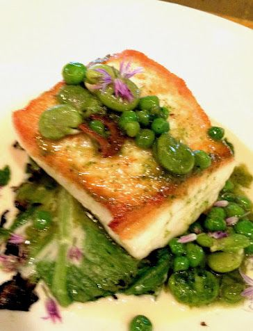 the daily catch: halibut, peas, favas, charred scallion puree, mushroom beurre blanc