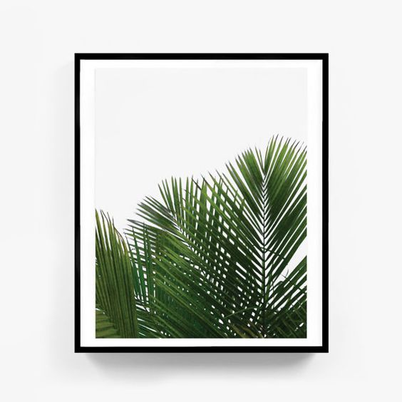 Palm Print Tropical Art Plant Art Leaf Art by MelindaWoodDesigns: