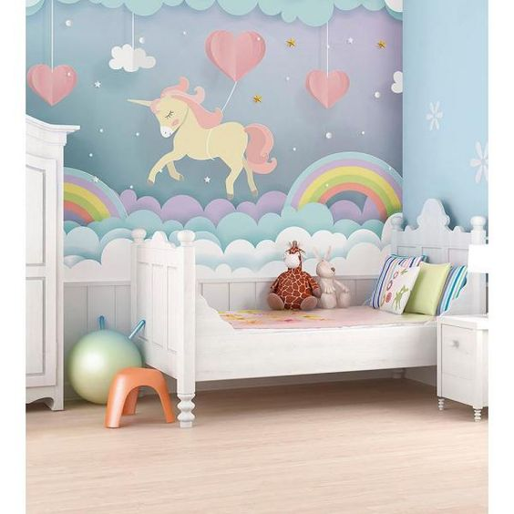 Ohpopsi Unicorn Dream Wall Mural Wals0370 The Home Depot In 2021 Kids Room Murals Unicorn Room Decor Playroom Wall