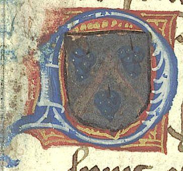 Armes des Budé : d'argent, au chevron de gueules accompagné de trois grappes de raisin d'azur. Armes de Guillaume Budé, l'arrière-grand oncle de l'Humaniste, anobli en 1397 pour la charge de «maistre des garnisons de vins du Roy et de la Royne» qu'il occupat auprès de Charles VI. -- Source:  http://ds.lib.berkeley.edu/HRC040_37