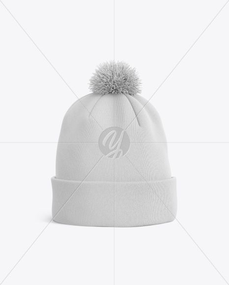 Winter Hat Mockup Front View In Apparel Mockups On Yellow Images Object Mockups Psd Template Free Clothing Mockup Winter Hats