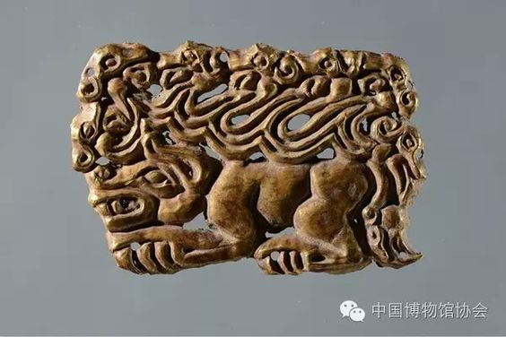 Gold plaque with tiger and griffin motifs, 5-3 C BC; collection of Ningxia Museum, China