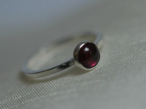 Sterling Silver Stacking Ring with Garnet Gemstone, Hallmarked,  size N,  R103A £24.00
