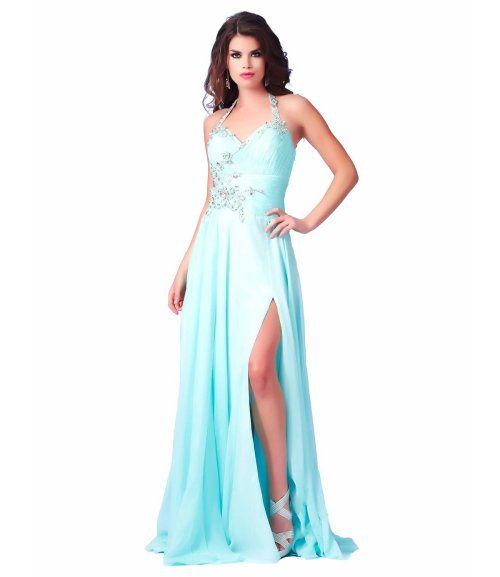 Cute long aqua blue prom dress 2015 with an embellished halter top strap, silver beaded applique at the waist and a flowy skirt with side slit