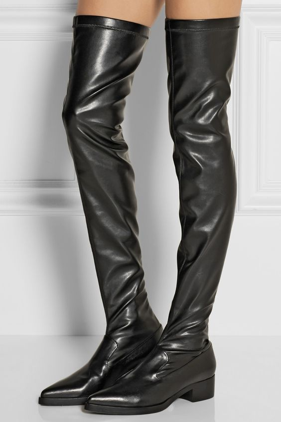 Over The Knee Faux Leather Boots - Yu Boots