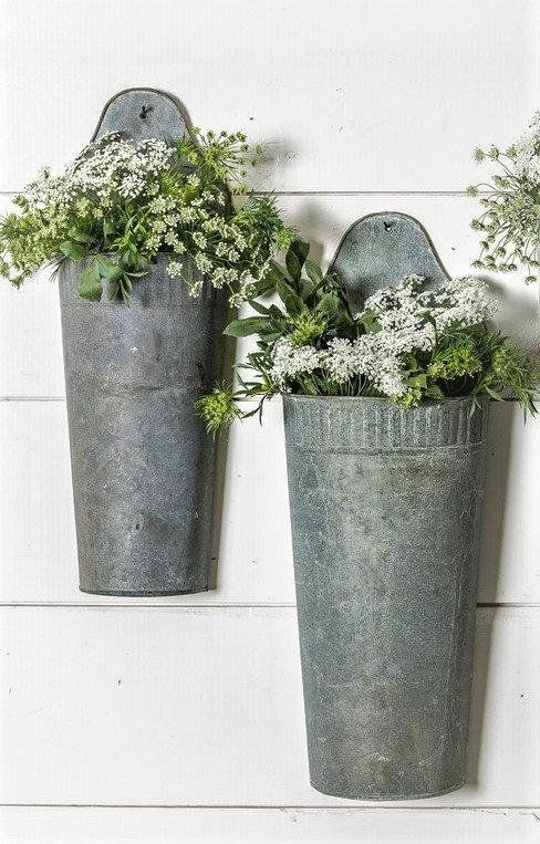 This Gorgeous Farmhouse Industrial Wall Planter Wall Bucket Is So Very Fixer Upper Use Indoors Galvanized Wall Planter Wall Planter Industrial Wall Planters