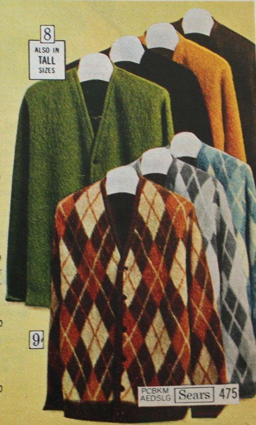 1970 Mohair Argyle Cardigans Mens Fashion Cardigan Knitwear Men Mens Jackets