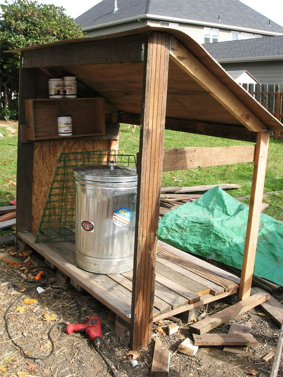Incomplete Lean To Made From Pallets To Store Food