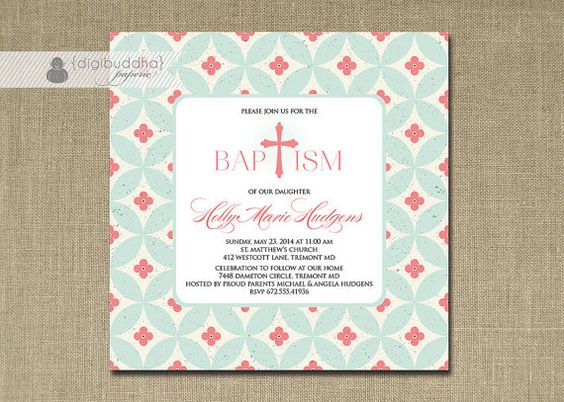 """Baby Girl Baptism Invitation 5x5"""" Square Coral Pink Blue Christening Classic Circle Print Christian Cross Digital or Printed - Holly Style on Etsy, $20.00"""