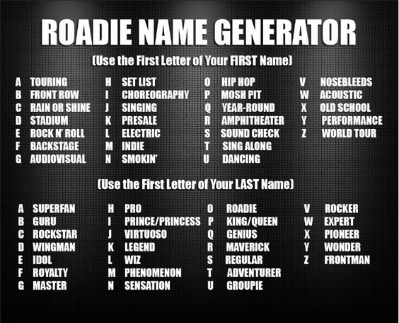 """Name Generator: We'd Be """"Electric Sensation."""" What's Your #Roadie Name"""