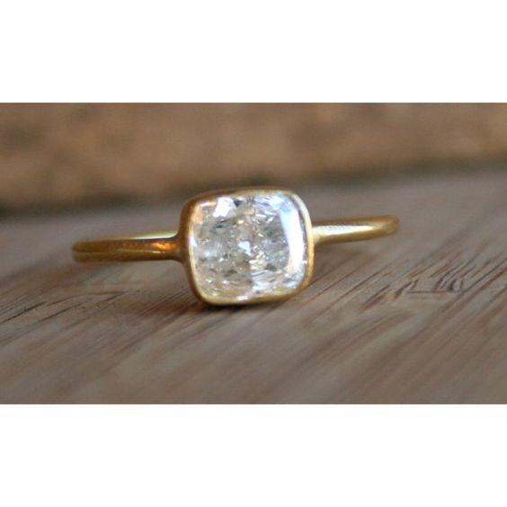 sarah perlis -Cushion Cut Diamond on Thin Hammered Band