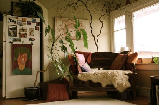 An earthy, calm living room with a touch of green to keep you grounded.