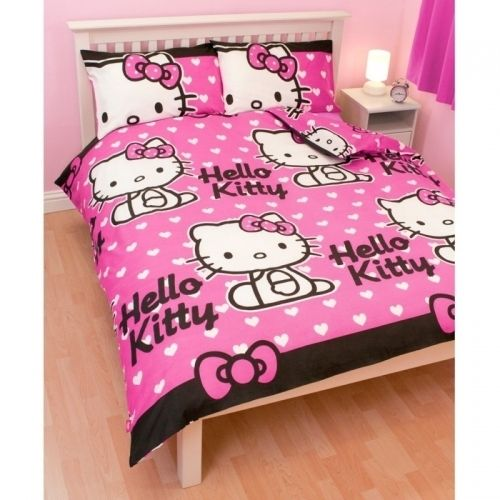 NEW HELLO KITTY HEARTS ROTARY DOUBLE BED DUVET QUILT COVER SET GIFT