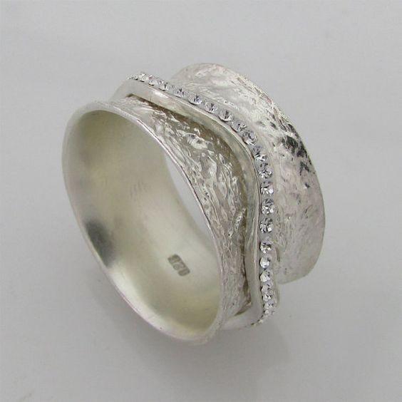 sterling silver spinner ring swarovski spinning rings