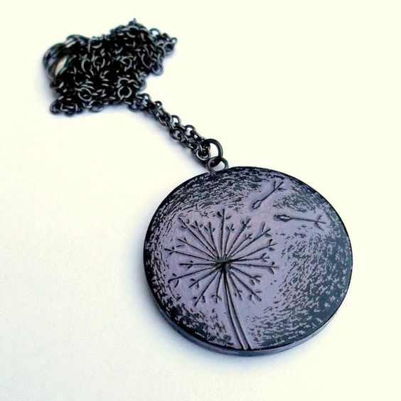 Lavender Dandelion Necklace Letting Go by blockpartypress on Etsy