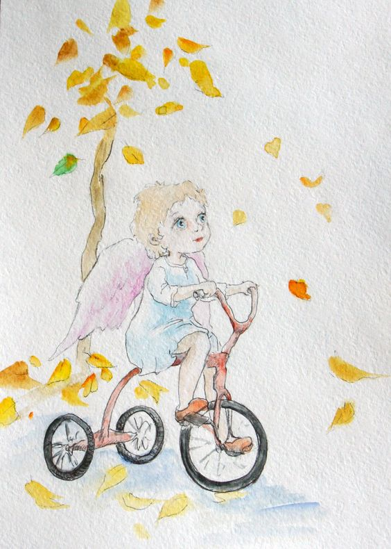 """Angel Guardian Watercolour original Angel on bicycle Original Painting 6x8"""" Art for kids Nursery wall decor Children art Baby room picture by Mirabilitas on Etsy"""