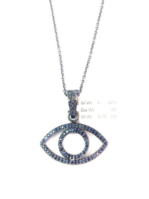 Genuine Blue Sapphire Evil Eye Charm Pendant Necklace, 925 Sterling Silver Blue Sapphire Evil Eye Necklace by Amitbardia on Etsy