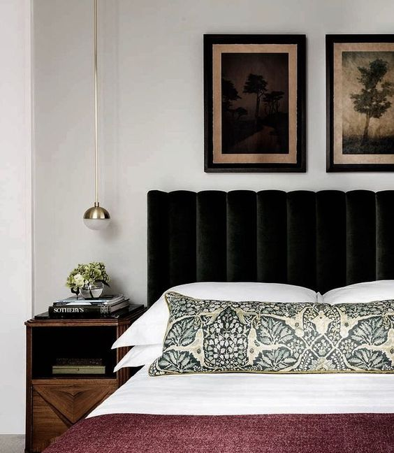 Velvet Headboard dreams and classic bedroom design style #interiordesign #interiorinspo