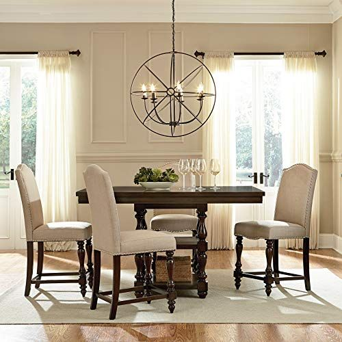 Furnituremaxx Jacob Brown Birch Veneers Wood Dining Set With Counter Height Table Counter Height Dining Table Set Counter Height Dining Table Dining Room Sets