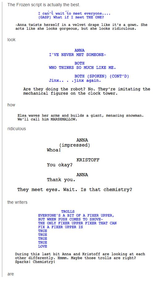 The Actual Frozen Script  This Is My New Favorite Thing What I