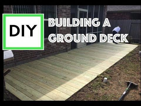 Diy For Beginners How To Build A Ground Level Deck With Instructions And Time Lapse Youtube Deckbuil Patio Deck Designs Building A Deck Ground Level Deck