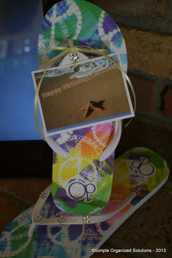 Blinged up flip-flops for Hawaii-bound friend's birthday.