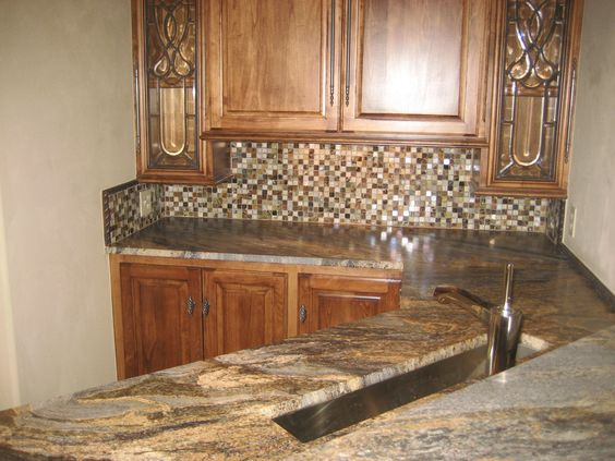 "custom stone and glass 1x1 ""cobblestone"" mosaic backsplash. (ac"