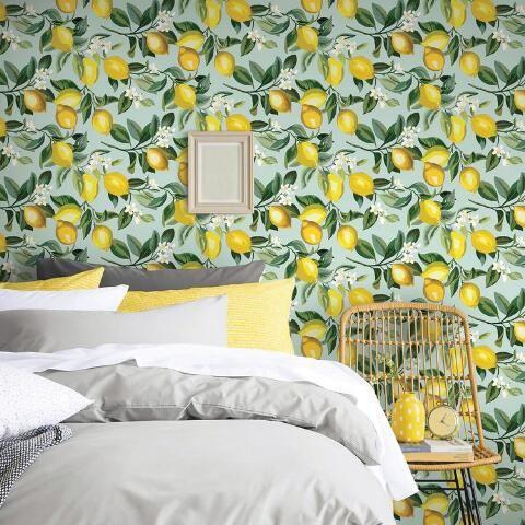 Light Blue And Yellow Lemon Peel And Stick Wallpaper World Market Peel And Stick Wallpaper Wallpaper Roll Nursery Room Decor