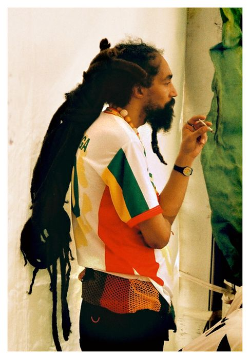 During the 1970's, the U.S. began to pick up on the Jamaican Rastafarian movement. Rastas wore large knitted teams, shirts in the colors of the Ethiopian flag (red, green, and gold), and most notably, dreadlocks were worn to show rebellion against the white society.