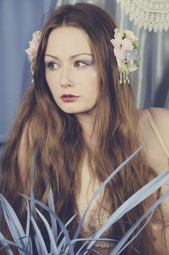Pastel flower hair clips photographer Laura coughlan Makeup Rhiannon chalmers assistant Jade gellard model Esther may