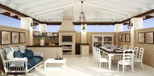 Terrasy S Barbekyu Poshagovaya Instrukciya Homify Disegno Della Terrazza Patio Cucina Esterna Salotti Accoglienti
