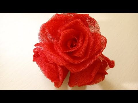 Rose Flower Making With Organdy Cloth Youtube With Images