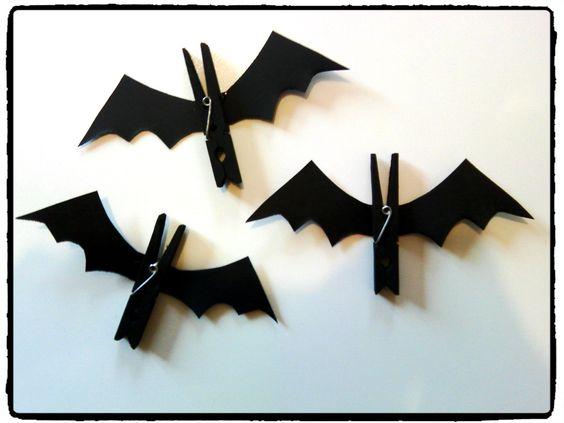 Halloween chauve souris pince linge bricolage - Deco halloween chauve souris ...