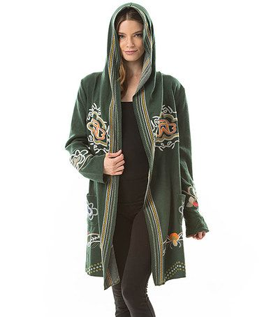 Another great find on #zulily! Forest Green Embroidered Hoodie - Women #zulilyfinds