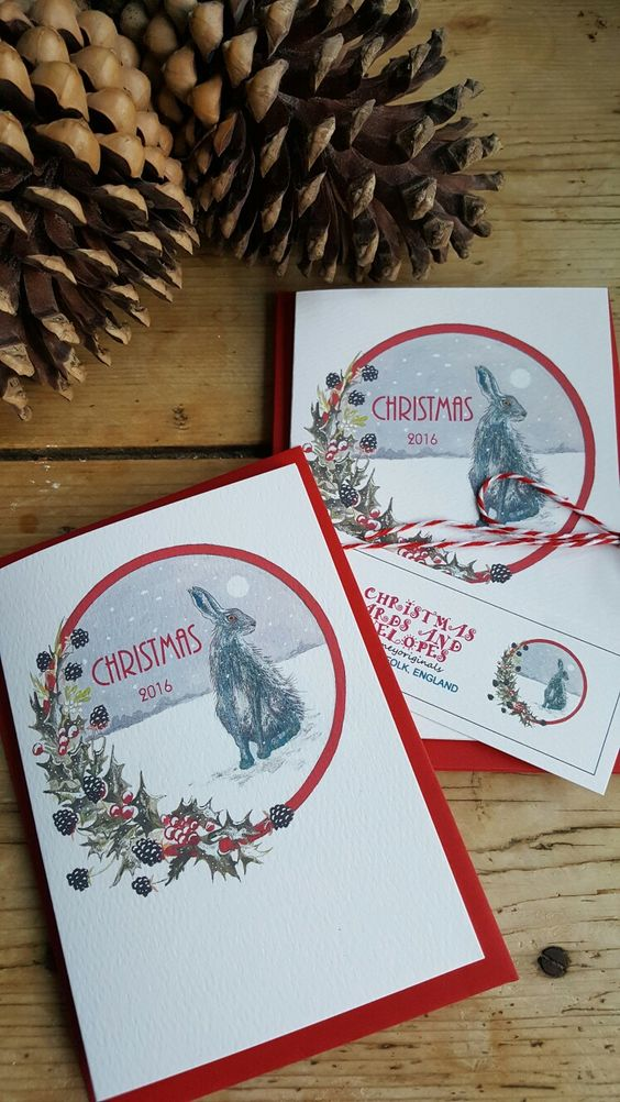 Hare Christmas card #hare #christmas #harechristmascard #wildlifegift