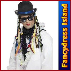 BOY GEORGE CHAMELEON BLACK BOWLER HAT Multi Coloured Plaits 1980s Fancy Dress