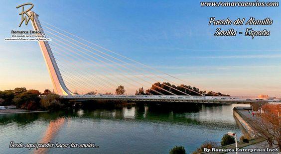 El puente del Alamillo de Sevilla (España) es un puente atirantado de pilón contrapeso que cruza el río Guadalquivir. Fue diseñado por Santiago Calatrava y se terminó en 1992. Se construyó como un acceso a la Isla de la Cartuja, donde tuvo lugar la Expo 92, y en donde hoy se encuentran el parque temático Isla Mágica, el Parque Tecnológico, el centenario Monasterio de la Cartuja, de donde proviene el nombre de la isla, y el Parque del Alamillo.