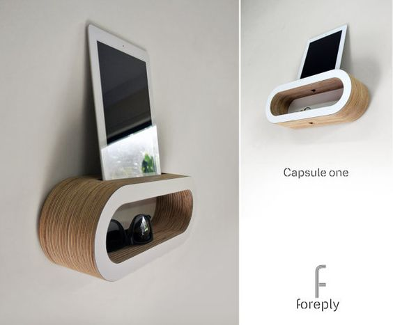 wall mounted capsule shelf for tablet computer phone. Black Bedroom Furniture Sets. Home Design Ideas