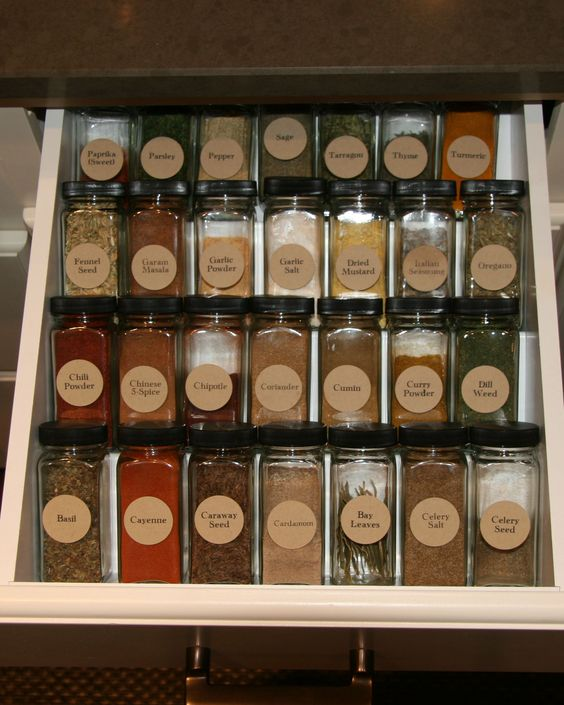 Kitchen Shelf Labels: Spice Drawer: I Have A Thing About Organization And Symmetry I Guess... I Ordered These Square