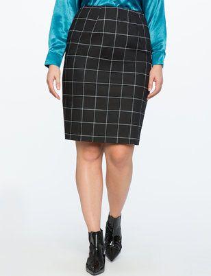 Windowpane Plaid Pencil Skirt from ELOQUII