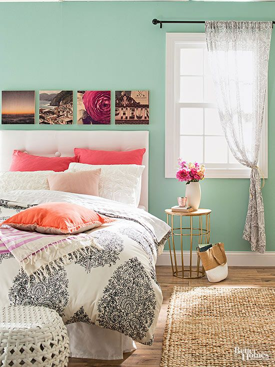 Perk up boring bedroom walls with a wooden work of art. To make this eye-catching display of phone photographs, print your favorite images onto a series of square wood panels, then hang them in a row above your headboard. Use PhotoBarn to process snapshots with a fun vintage filter.