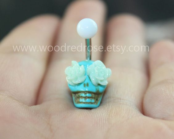 More Colors Choose Day Of The Dead Turquiose Skull by woodredrose