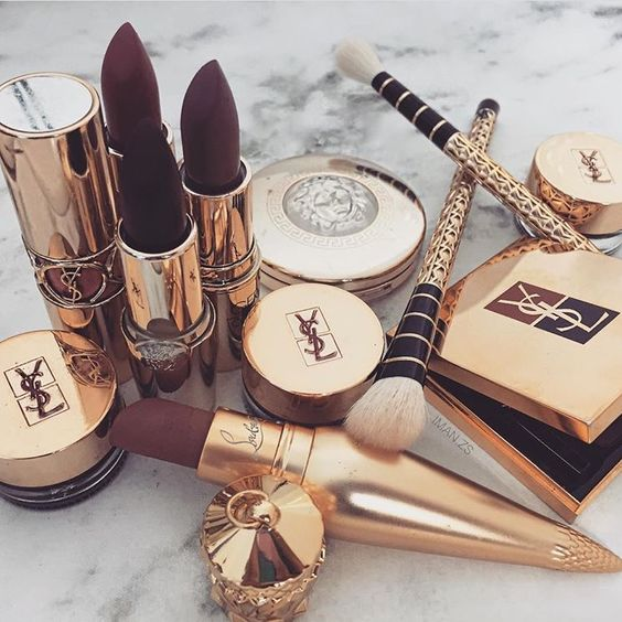 Beautiful lil collection there. Ysl Versace Louboutin - Luxury Beauty - http://amzn.to/2hZFa13: