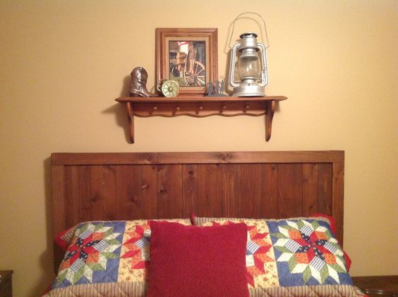My cedar wood headboard is perfect in the farmstead guest bedroom. Was easy and inexpensive to make.