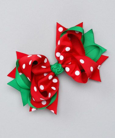 Take a look at this Red Polka Dot Sweetie Pie Bow Clip by Bubbly Bows on #zulily today!